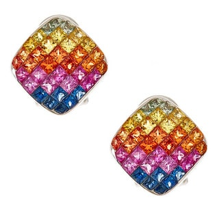 14k White Gold Multi-colored Sapphire Stud Earrings