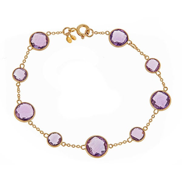 10k Yellow Gold Amethyst Bracelet 15883630