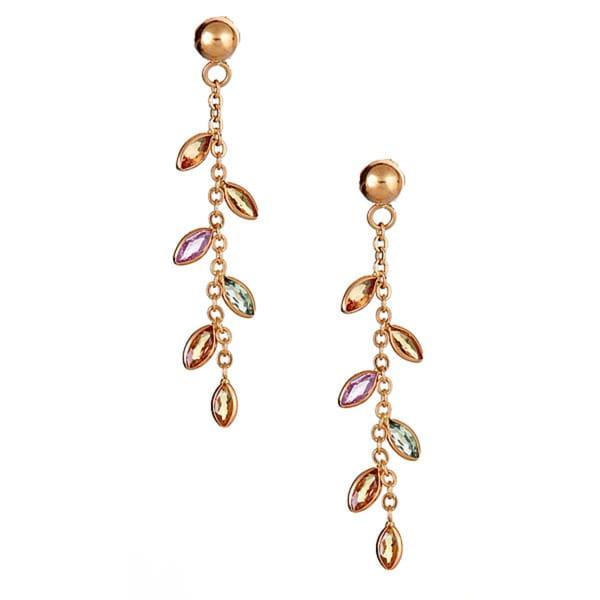 14k Yellow Gold Multi Sapphire Earring