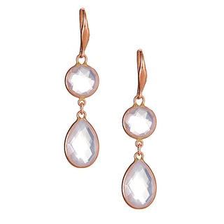 10k rose gold earring with rose quartz briolette.