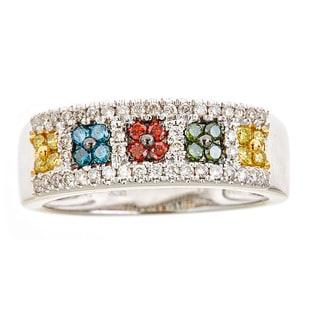 14k white gold multi color diamond ring