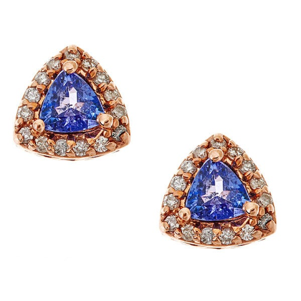 14k rose gold tanzanite and white diamond earring.