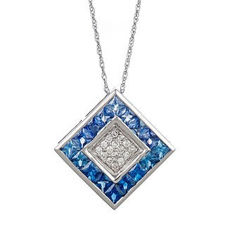 14k white gold with sapphire and white diamond necklace