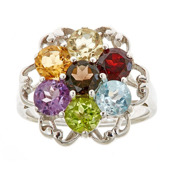 Multi Semi precious sterling silver ring