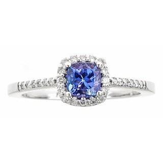 14k white gold tanzanite and white diamond ring