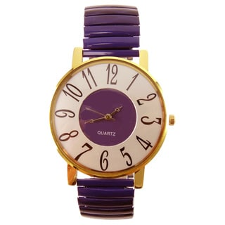 Women's Jumbo Purple Inlaid Dial Purple Stretch Band Gold-tone Case Quartz Watch