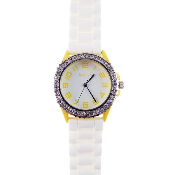 Women's Sport Crystals White Silicone Band Watch