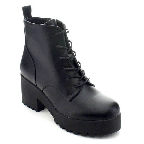 Wild Diva Cobra-01 Women's Lug Sole Platform Chunky Heel Lace Up Combat Booties