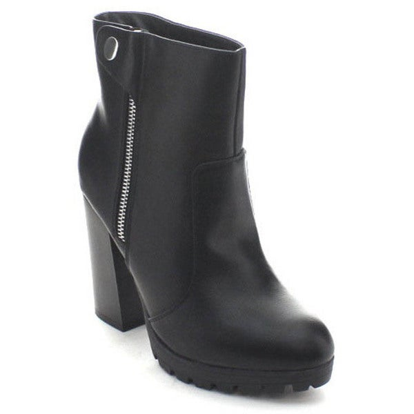 Wild Diva Kimber-02 Women's Lug Sole Chunky Heel Side Zip Ankle Booties