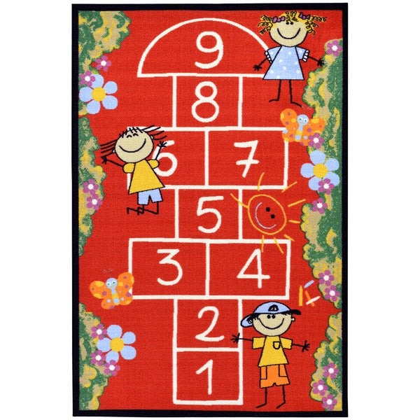 Red Children's Playground Hopscotch Design Area Rug (8'2 x 9'10)