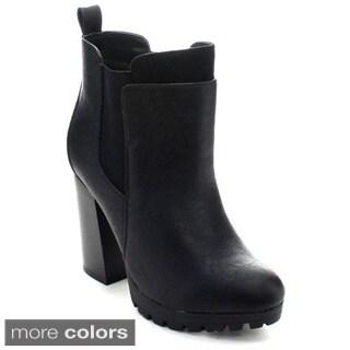Wild Diva Kimber-04 Women's Lug Sole Chelsea High Heel Platform Ankle Booties