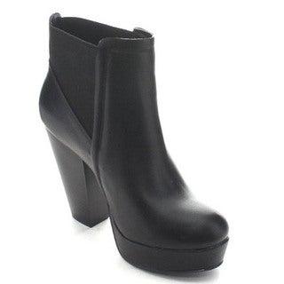 Wild Diva Sasa-02 Women's Elastic Platform Chunky Heel Dress Ankle Boots