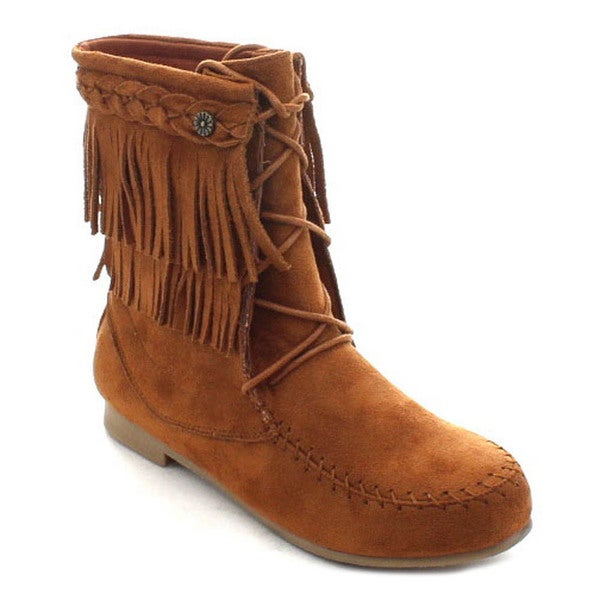 Wild Diva Starcy-86 Women's Mocassin Fringe Lace Up Flat Heel Ankle Boots