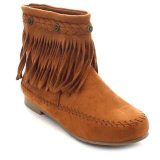 Wild Diva Starcy-93 Women's Boho Fringe Back Zip Comfort Flat Ankle Boots