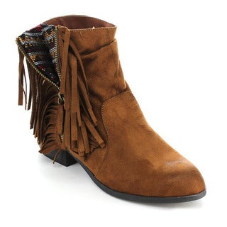 Qupid Static-35 Women's Western Fringe Pattern Stacked Chunky Heel Ankle Booties