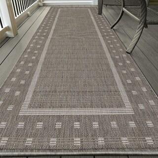 Ottomanson Jardin Collection Grey Contemporary Bordered Design Indoor/ Outdoor Area Rug (2'7 x 7')