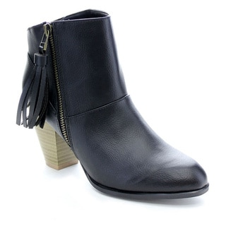 Qupid Salty-05 Women's Pointy Toe Stacked Chunky Heel Tassel Ankle Booties