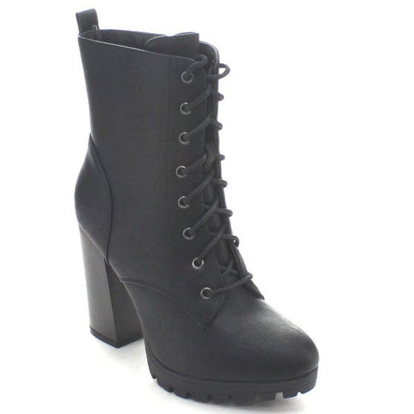 Wild Diva Kimber-06 Women's Side Zip Lug Sole Stacked Mid Calf Combat Boots