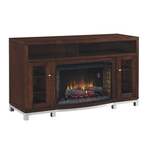 Wesleyan 32-inch Classic Flame Indoor Meridian Cherry Electric Fireplace Media Mantel