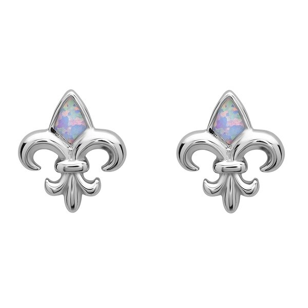 La Preciosa Sterling Silver White Opal Fleur de Lis Stud Earrings