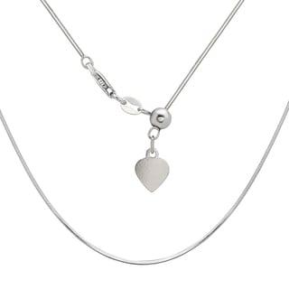La Preciosa Sterling Silver Adjustable Square Snake Heart Chain