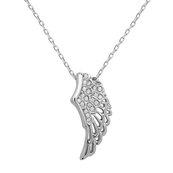 La Preciosa Sterling Silver Cubic Zirconia Single Angel Wing Pendant