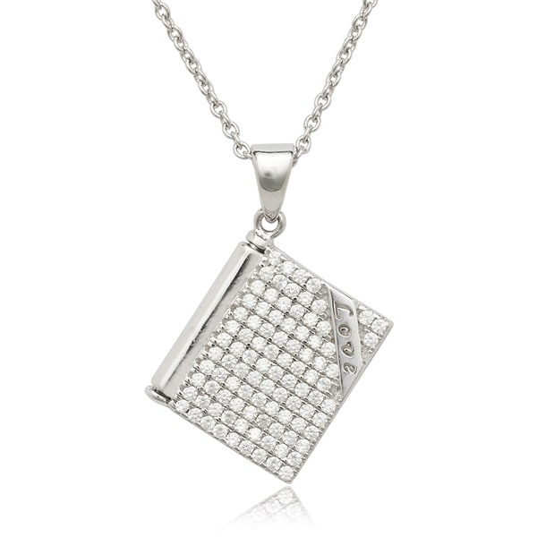 La Preciosa Sterling Silver Cubic Zirconia 'We Are Together Forever' Open Notebook Necklace