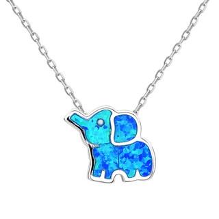 La Preciosa Sterling Silver Blue Opal Elephant Pendant