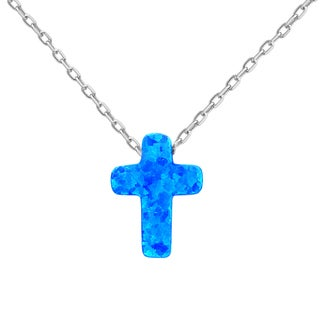 La Preciosa Sterling Silver Opal Cross Necklace