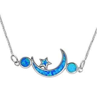 La Preciosa Sterling Silver Blue Opal Moon and Stars Necklace