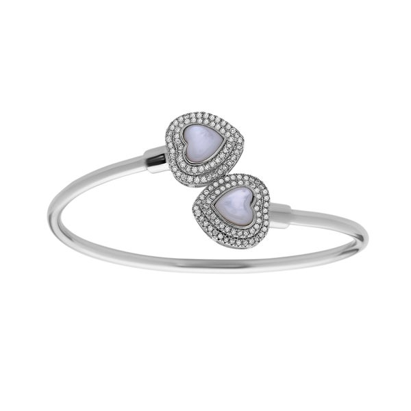 La Preciosa Sterling Silver Cubic Zirconia and Mother of Pearl Heart Ends Bangle