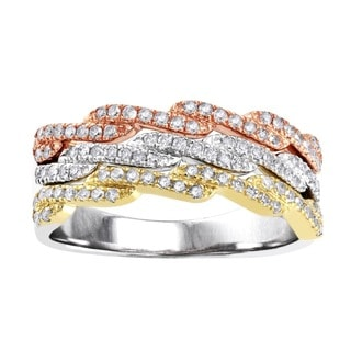 Beverly Hills Charm 10k Tri-color Gold 1/2ct TDW Diamond Anniversary Band (H-I, I2-I3)