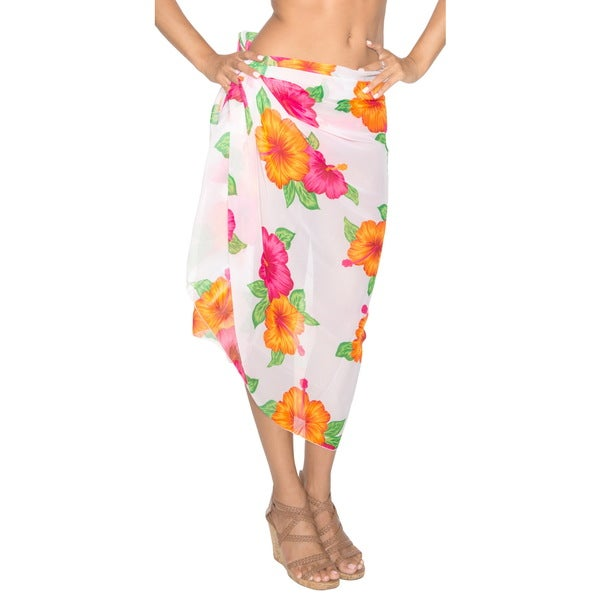 La Leela White/ Pink Floral Printed Beach Swim Sarong