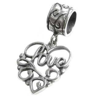 Queenberry Sterling Silver Love Heart Dangle Europen Bead Charm