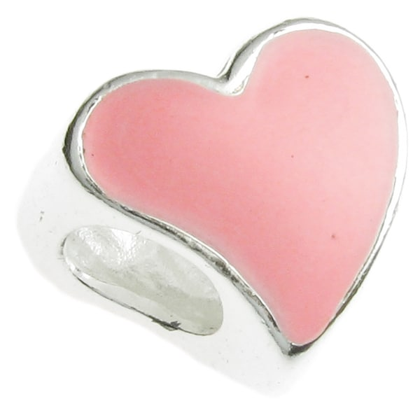 Queenberry Sterling Silver Pink Enamel Heart Europen Bead Charm