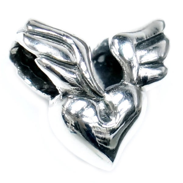 Queenberry Sterling Silver Wing Heart with Lock European Bead Charm