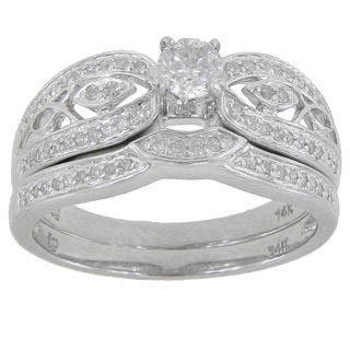 14k White Gold 1/2ct TDW Round Diamond Split Shank Engagement Ring with Wedding band (G-H, I2-I3)