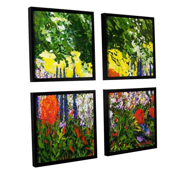 ArtWall Allan Friedlander 'Under The Branch' 4 Piece Floater Framed Canvas Square Set