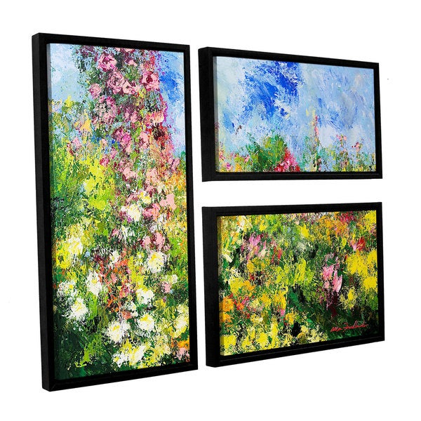 ArtWall Allan Friedlander 'Wild Sweetness' 3 Piece Floater Framed Canvas Flag Set
