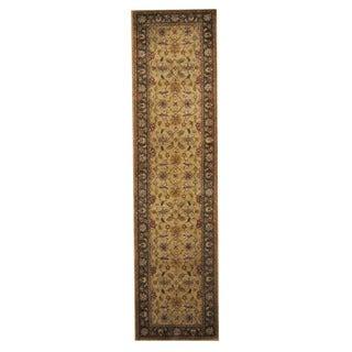 Herat Oriental Indo Hand-Tufted Mahal Green/ Brown Wool Rug (3' x 12')