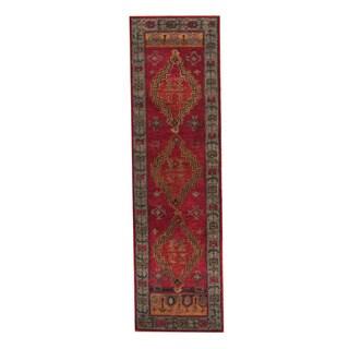 Herat Oriental Indo Hand-Tufted Tibetan Red/ Light Blue Wool Rug (2'6 x 9')