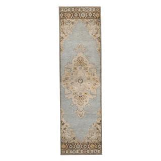 Herat Oriental Indo Hand-Tufted Mahal Light Blue/ Beige Wool Rug (2'6 x 9')