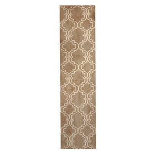 Herat Oriental Indo Hand-Tufted Tibetan Light Brown/ Ivory Wool Rug (2'3 x 9')