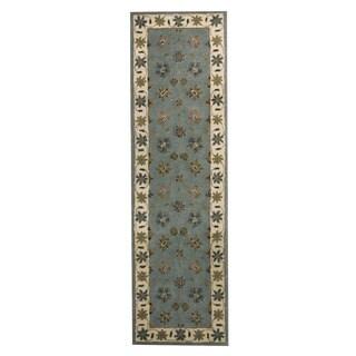 Herat Oriental Indo Hand-tufted Mahal Light Blue/ Ivory Wool Area Rug (2'4 x 8')