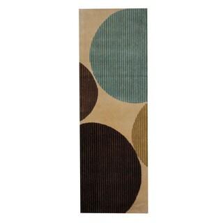 Herat Oriental Indo Hand-Tufted Tibetan Beige/ Brown Wool Rug (2'6 x 7'6)