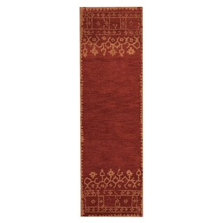 Herat Oriental Indo Hand-Tufted Tibetan Rust/ Beige Wool Rug (2'6 x 8')