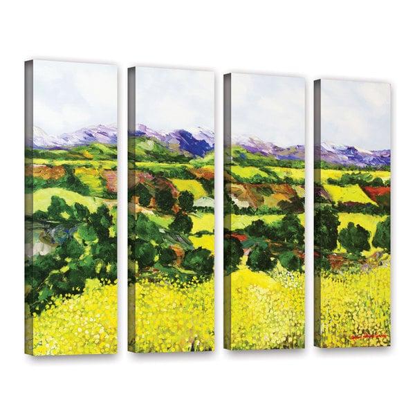ArtWall Allan Friedlander 'Yellow Weeds' 4 Piece Gallery-Wrapped Canvas Set