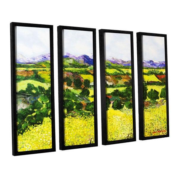 ArtWall Allan Friedlander 'Yellow Weeds' 4 Piece Floater Framed Canvas Set