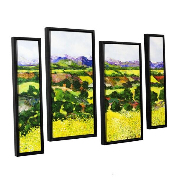 ArtWall Allan Friedlander 'Yellow Weeds' 4 Piece Floater Framed Canvas Staggered Set