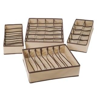 StorageManiac Set of 4 Foldable Storage Boxes, Closet Organizer, Drawer Divider
